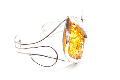 Baltic Beauty Bangles Golden Amber & Silver Bangle