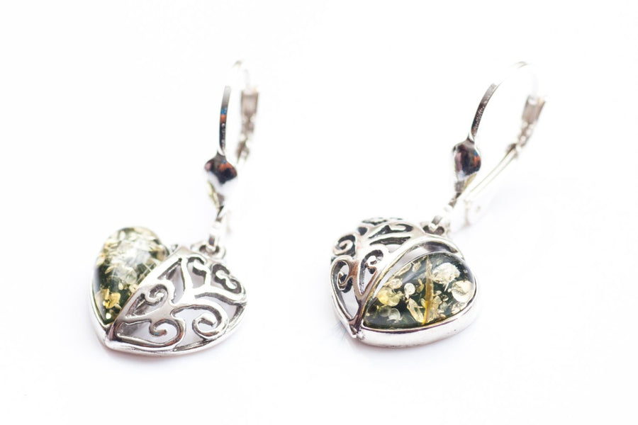 Green Amber Heart Jewellery Set