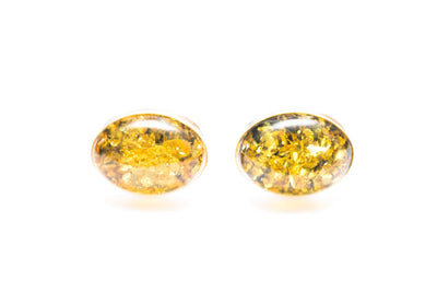 Baltic Beauty Cufflinks Green Amber Oval Cufflinks