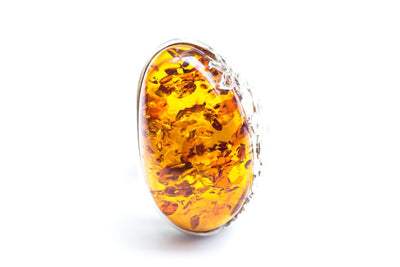 Baltic Beauty Rings Large Oval Amber Flower Ring