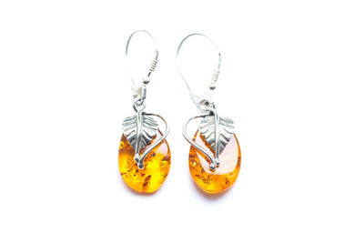 Baltic Beauty Earrings Leaf Amber Drop Earrings