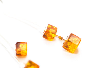 Baltic Beauty Earrings Long Amber Cube Earrings