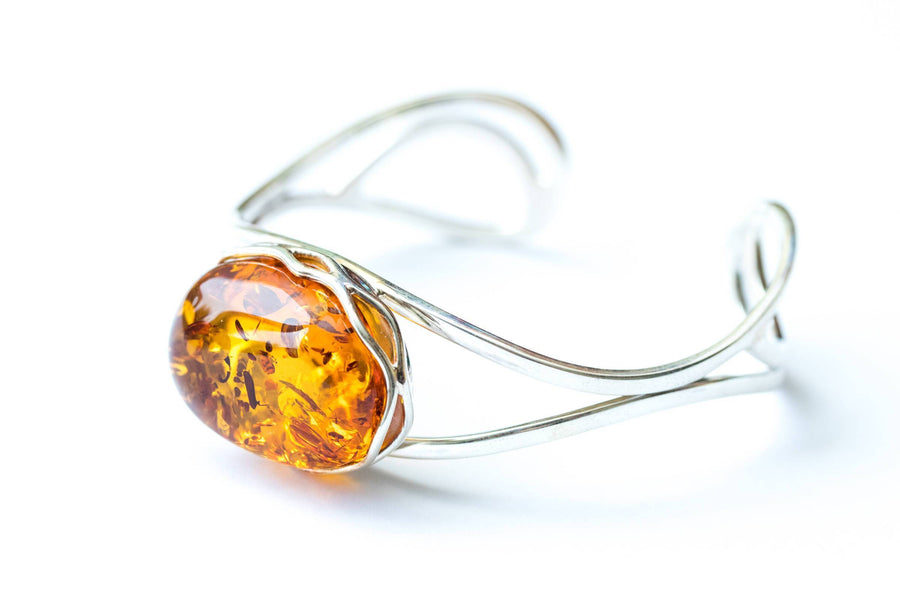Minimal Baltic Amber Bangle