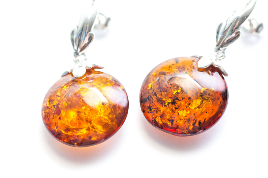 Minimal Pastille Amber Drop Earrings