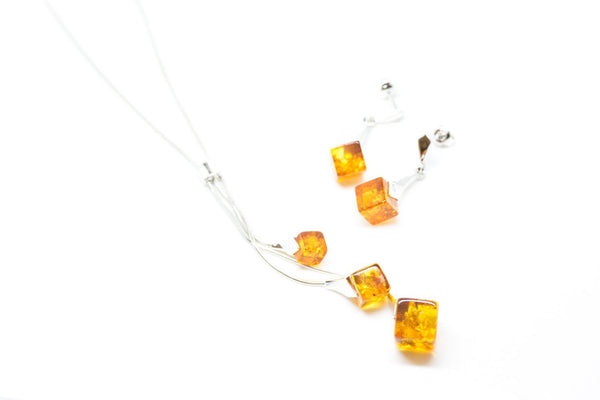 c0f8b95803 Modern Cube Amber Jewellery Set - Amber Necklace & Earrings Set - Baltic  Beauty