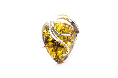 Baltic Beauty Rings Modern Green Amber Ring