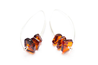 Baltic Beauty Earrings Modern Hoop Amber Earrings