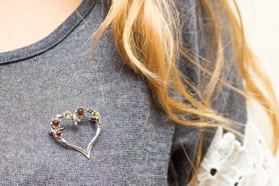 Baltic Beauty Brooches Multicolour Amber Heart Brooch