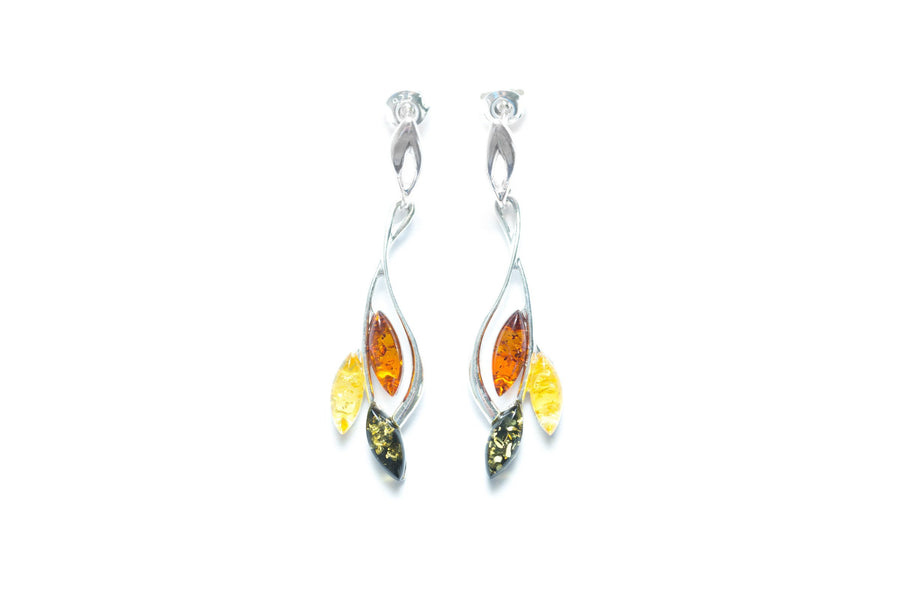 Multicolour Amber Leaf Earrings