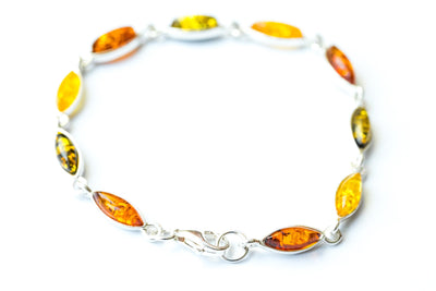 Baltic Beauty Bracelets Multicolour Amber Link Bracelet