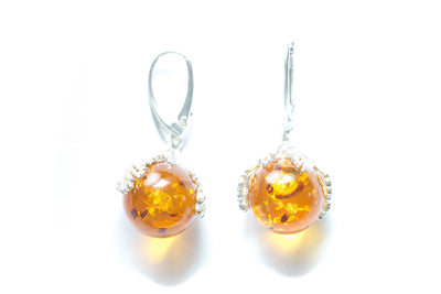 Baltic Beauty Earrings Natural Amber Sphere Earrings