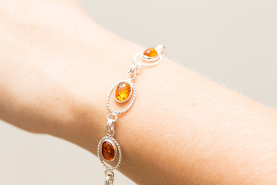 Baltic Beauty Bracelets Oval Amber Link Bracelet