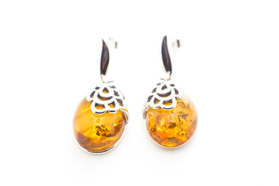 Baltic Beauty Earrings Oval Golden Amber Earrings