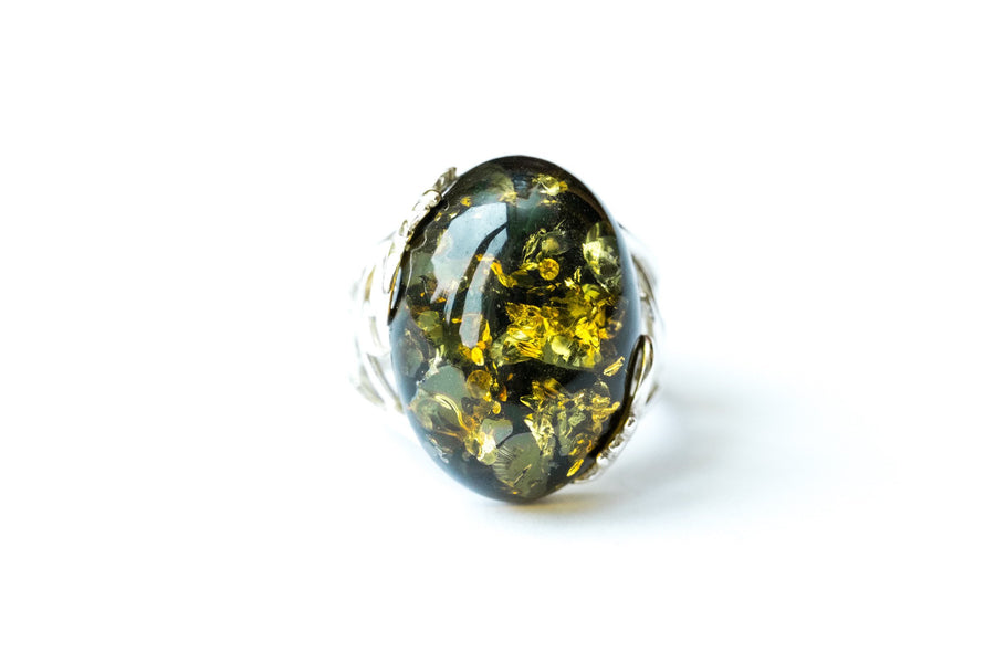 Oval Green Amber Statement Ring