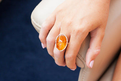 Baltic Beauty Rings Oval Hammered Amber Ring
