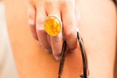 Baltic Beauty Rings Oversized Amber & Silver Ring