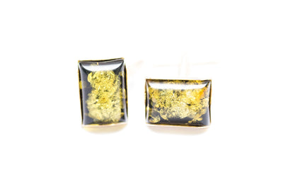 Baltic Beauty Cufflinks Rectangle Green Amber Cufflinks