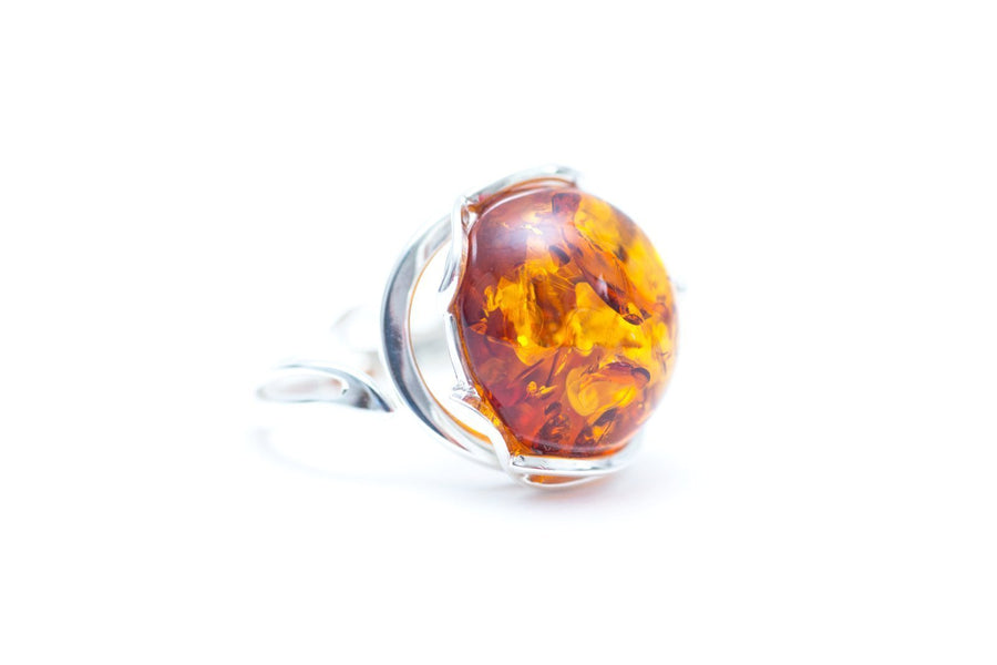 Round Amber Cocktail Ring