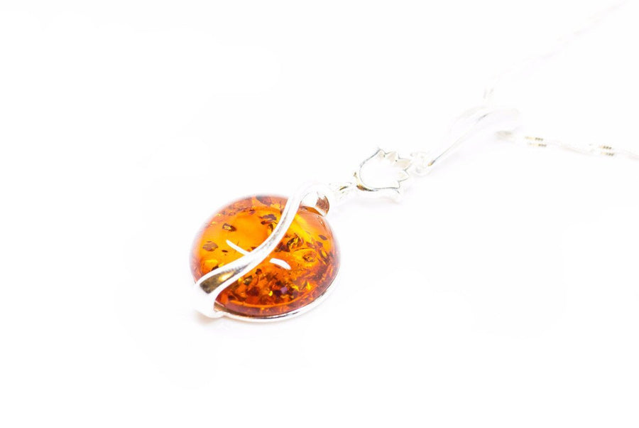 Round Amber Fire Pendant