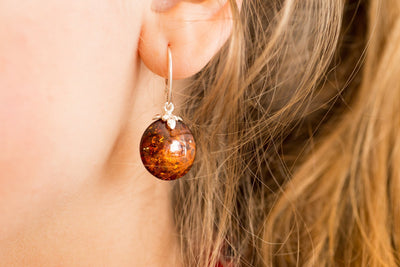 Baltic Beauty Earrings Round Amber Pastille Earrings