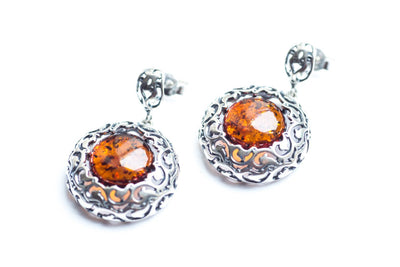 Baltic Beauty Earrings Round Aztec Amber Earrings
