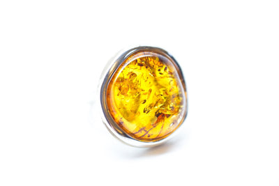 Baltic Beauty Rings Round Golden Amber Ring