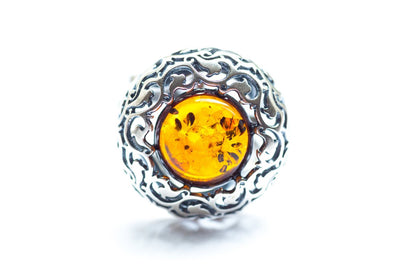 Baltic Beauty Rings Round Pattern Amber Ring