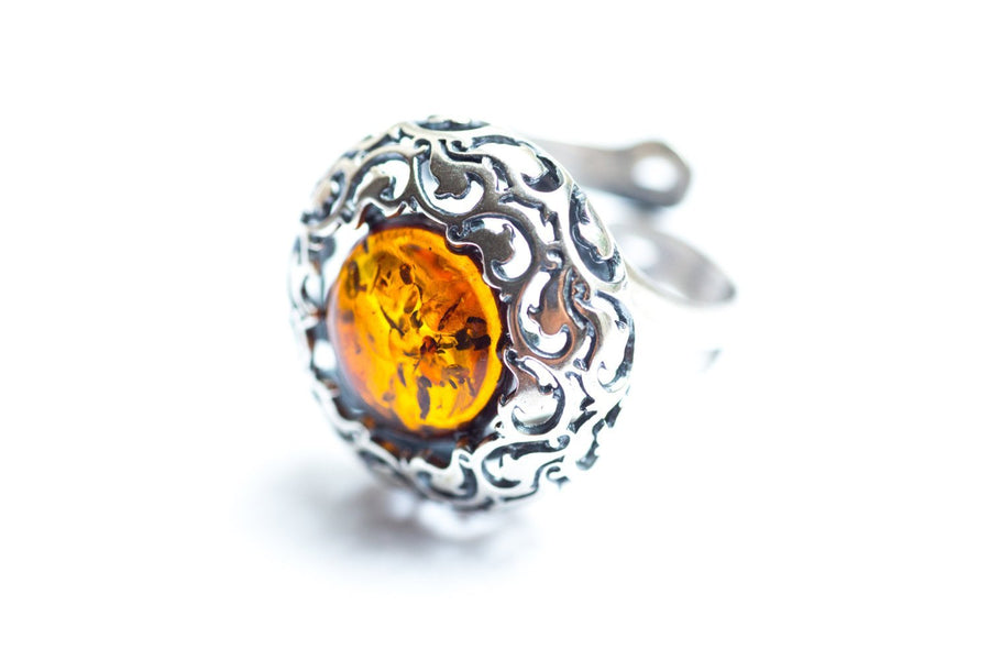 Round Aztec Amber Statement Ring