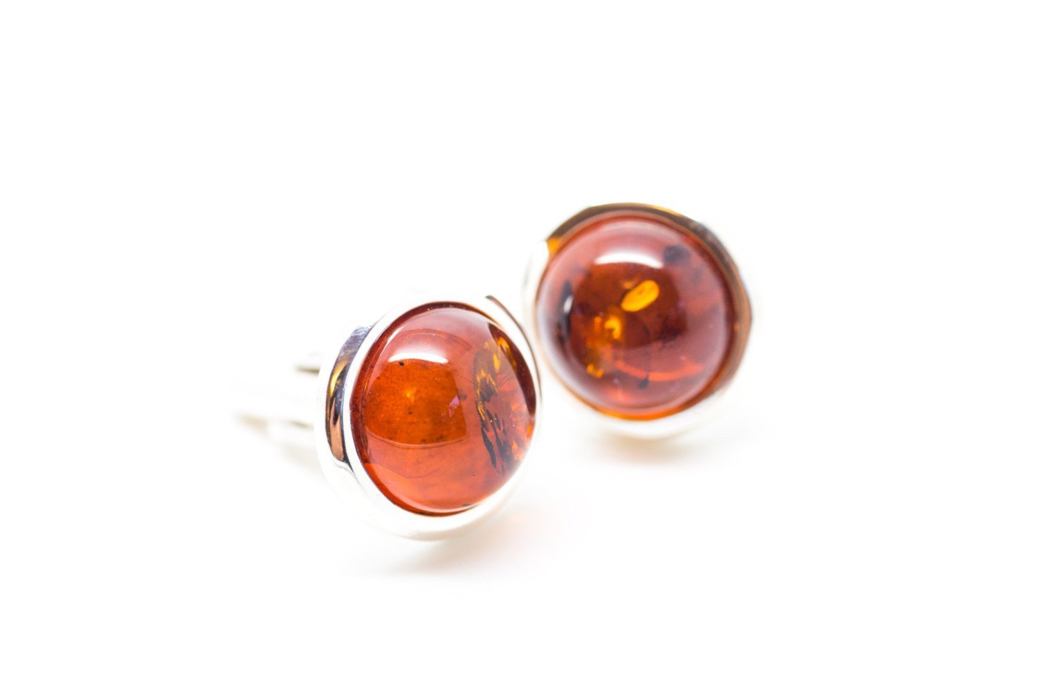Baltic Beauty Cufflinks Round Red Amber Cufflinks
