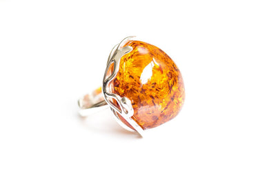 Baltic Beauty Rings Rounded Amber & Silver Ring
