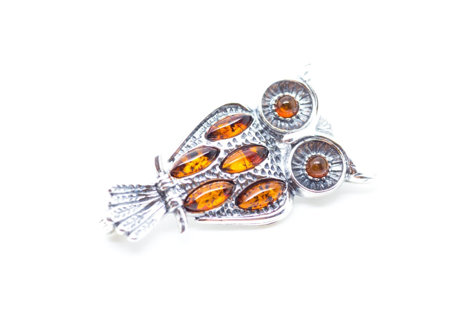 Baltic Beauty Brooches Silver & Amber Owl Brooch