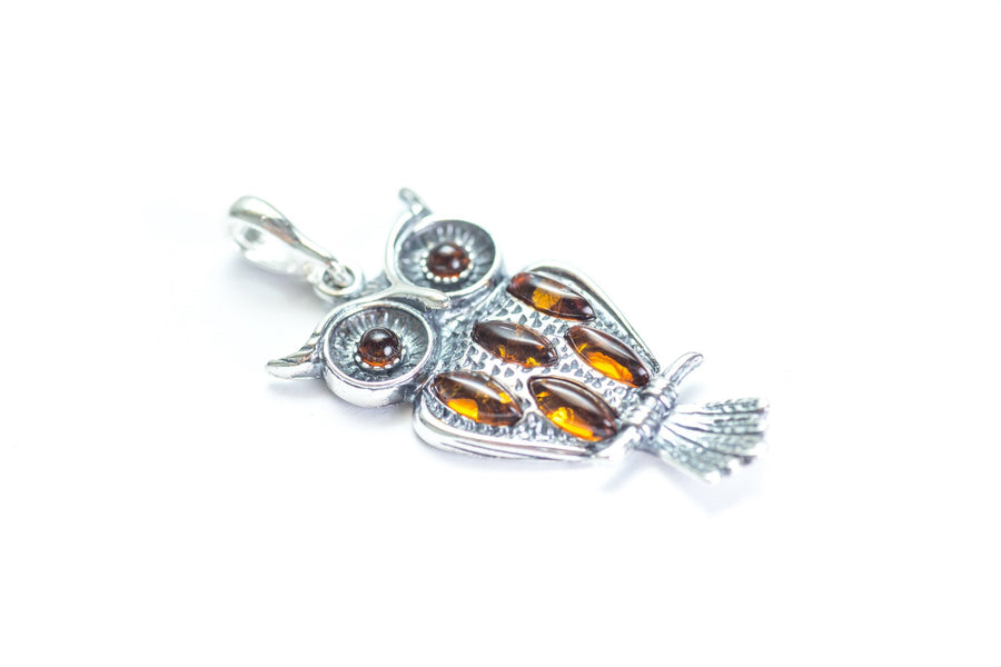 Silver & Amber Owl Pendant