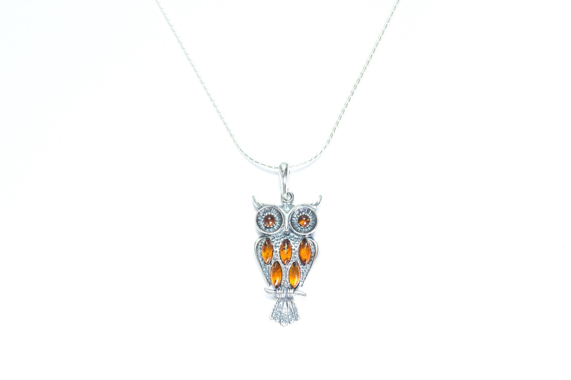 necklace hi pendant res silver sapphire burnished teal rickis owl
