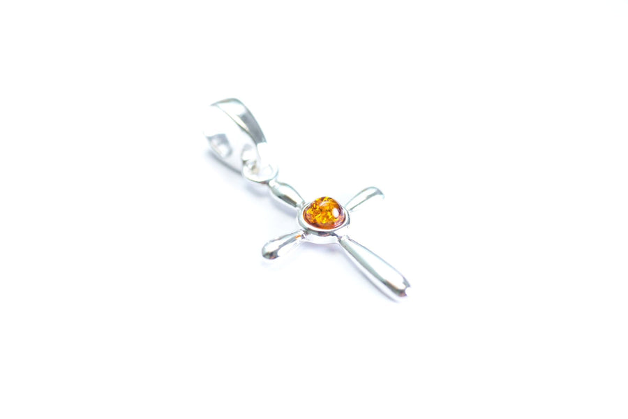 Small Amber Cross Pendant