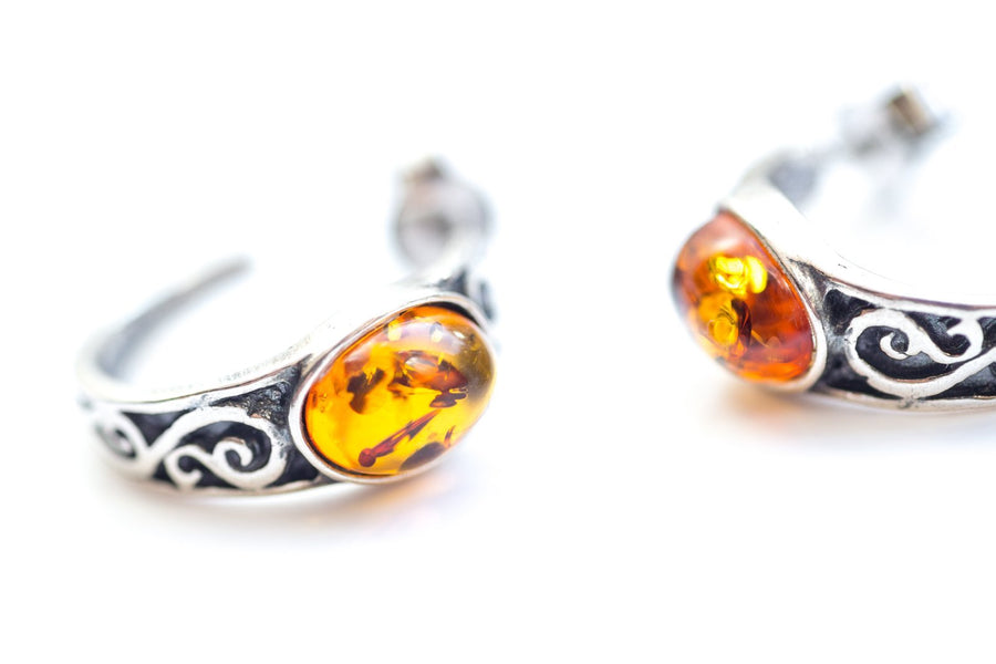 Small Hoop Amber Earrings