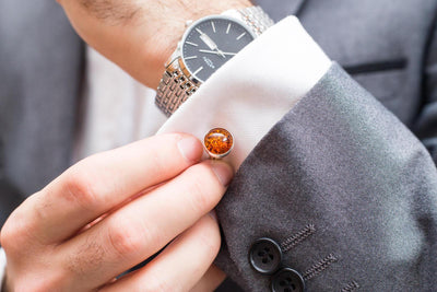 Baltic Beauty Cufflinks Small Round Amber Cufflinks