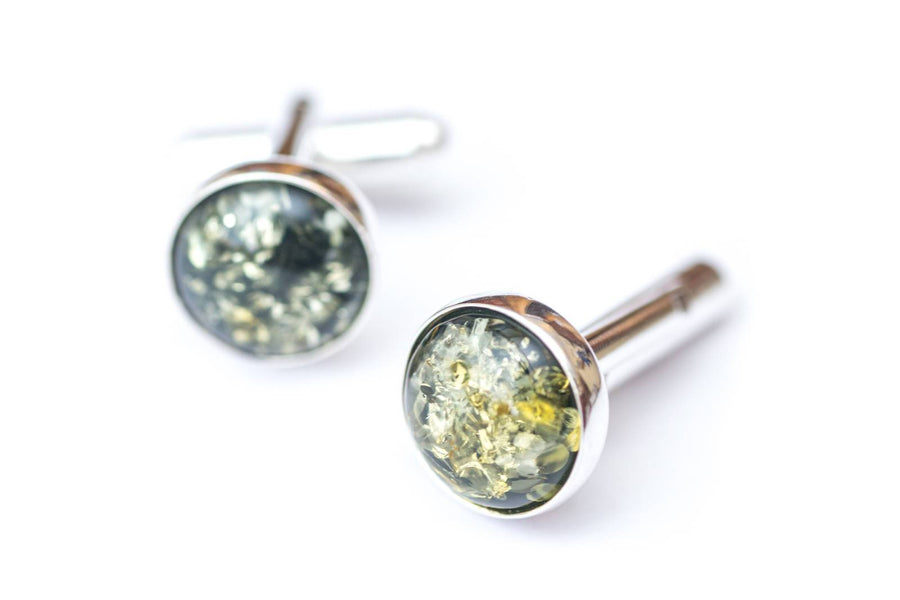 Small Round Green Amber Cufflinks