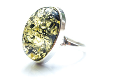 Baltic Beauty Rings Statement Green Amber Ring