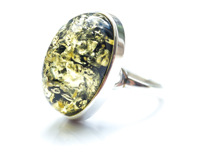 Statement Green Amber Ring