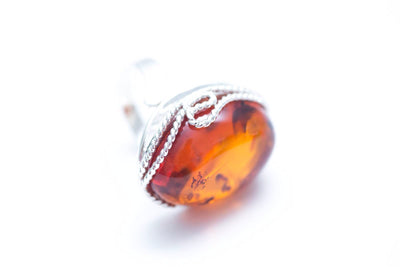Baltic Beauty Rings Statement Rope Frame Amber Ring
