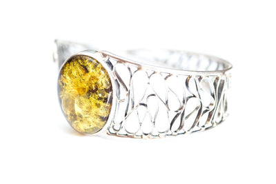 Baltic Beauty Bangles Thick Green Amber Cuff