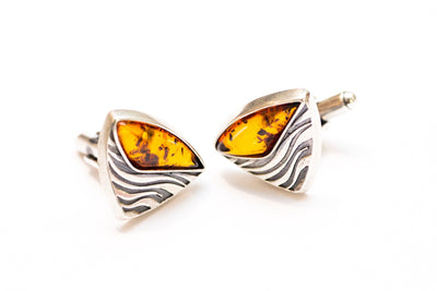 Baltic Beauty Cufflinks Triangular Amber Cufflinks