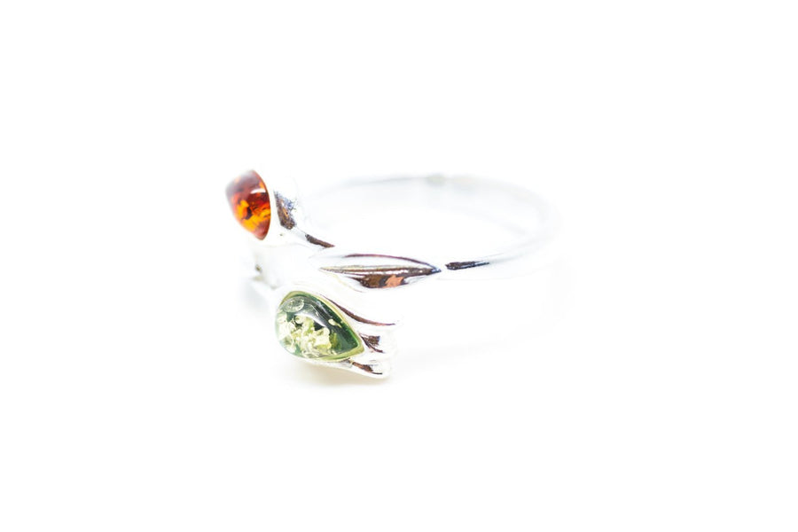 Baltic Beauty Rings Two Tone Amber Tulip Ring