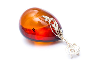 Baltic Beauty Pendant Unique Teardrop Cognac Amber Pendant