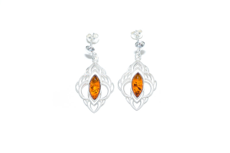 Chandelier Frame Baltic Amber Earrings