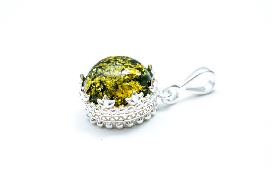 Green Princess Crown Amber Pendant