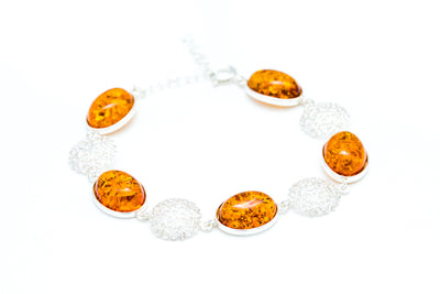 Statement Amber and Silver Bracelet