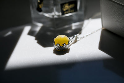 Yellow Amber Princess Crown Pendant