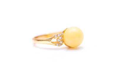Solstice Yellow Amber Sphere Ring