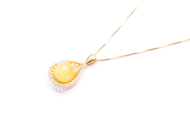 Solstice Yellow Amber Pear Necklace